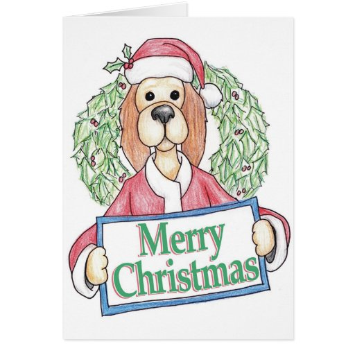 Santa Paws with Wreath Greeting Card