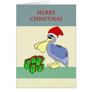 Santa Pelican Merry Christmas Card