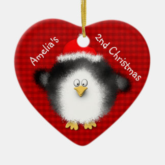 Santa Penguin and Baby Chick Personalized Ceramic Heart Decoration