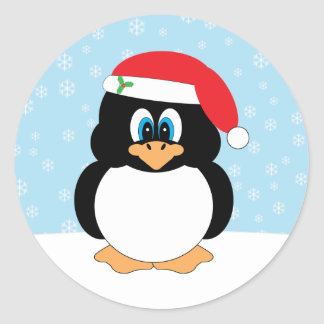 Santa Penguin Christmas Stickers