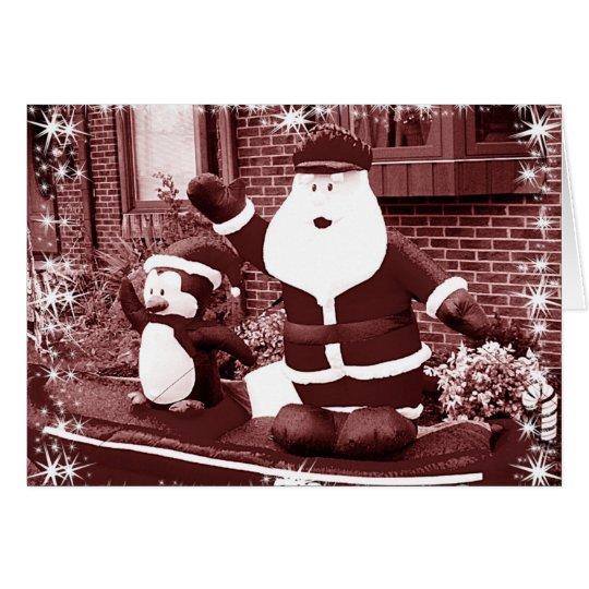 Santa & Penguin Friend Waving Card