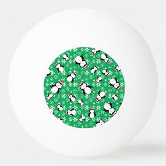 Santa penguin green snowflakes ping pong ball