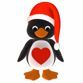 Santa Penguin Holiday Ornament Photo Sculpture Decoration