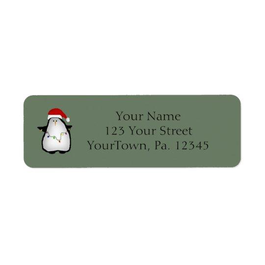 Santa Penguin Label Return Address Label