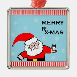Santa Pharmacist Silver-Colored Square Decoration