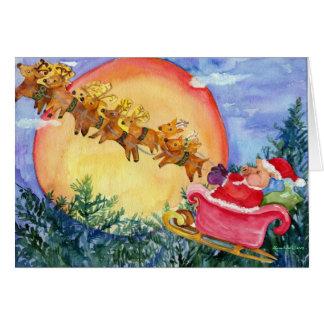 Santa Pig Delivers Christmas Joy  Christmas Card