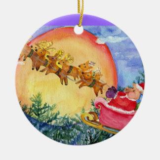 Santa Pig & Reindeer Ornament