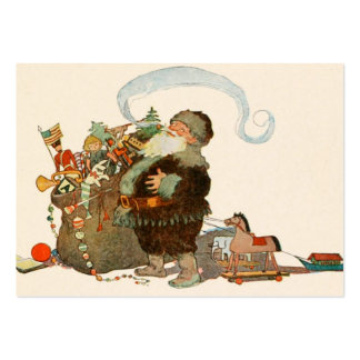 Santa Pipe Sack of Toys Large Business Cards (Pack Of 100)