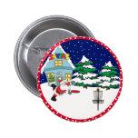 Santa Playing Disc Golf 6 Cm Round Badge