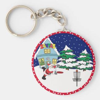 Santa Playing Disc Golf Key Chains