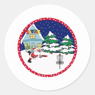 Santa Playing Disc Golf Round Sticker