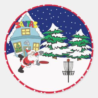 Santa Playing Disc Golf Stickers