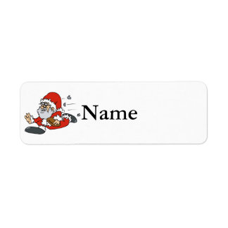 Santa playing football return address label
