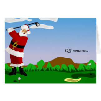 Santa Playing Golf Card