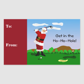 Santa Playing Golf Rectangular Sticker