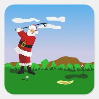 Santa Playing Golf Square Sticker