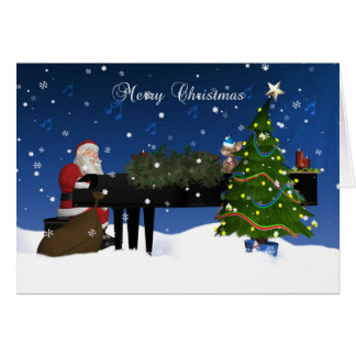 Santa Playing Piano With Holiday Tree And Snow Card