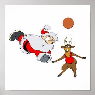 santa playing volleyball poster