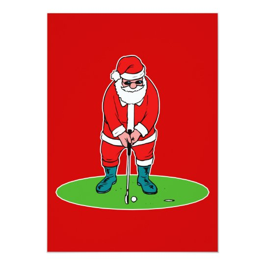 Santa plays golf card