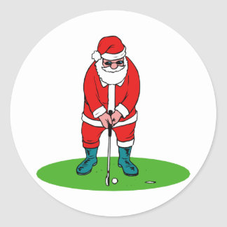 Santa plays golf round sticker