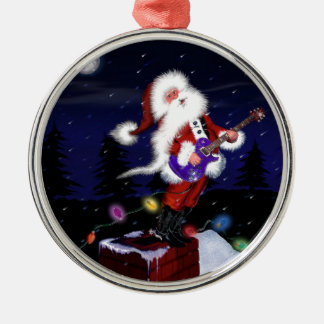 Santa Plays Guitar Christmas Ornament