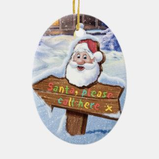 Santa please call here ceramic christmas deco christmas ornament
