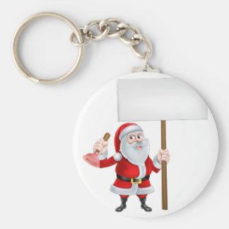 Santa Plunger Sign Basic Round Button Key Ring