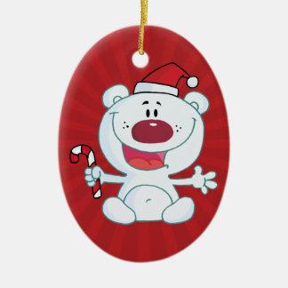 Santa Polar Bear Christmas Ornament