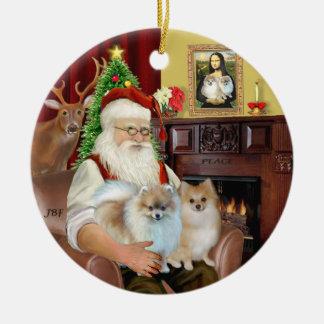 Santa - Pomeranians 9two) Christmas Ornament