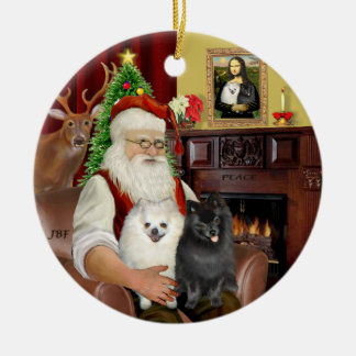 Santa - Pomeranians (TWO-BW) Christmas Ornament