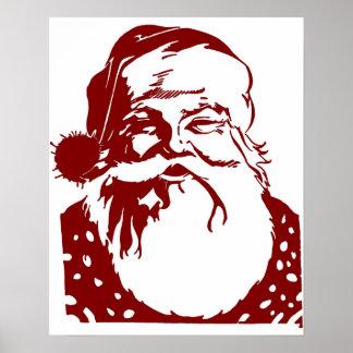 Santa Pop art Merry Christmas red Poster