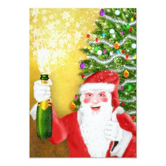 Santa popping champagne cork invitations