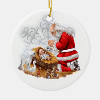 Santa Pray Over Baby Jesus Ornament