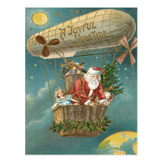 Santa Presents Gifts Christmas Tree Balloon Postcard