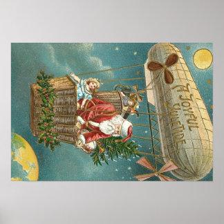 Santa Presents Gifts Christmas Tree Balloon Poster