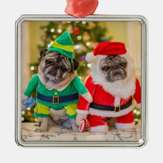 Santa Pug and His Little Helper! Christmas Ornament
