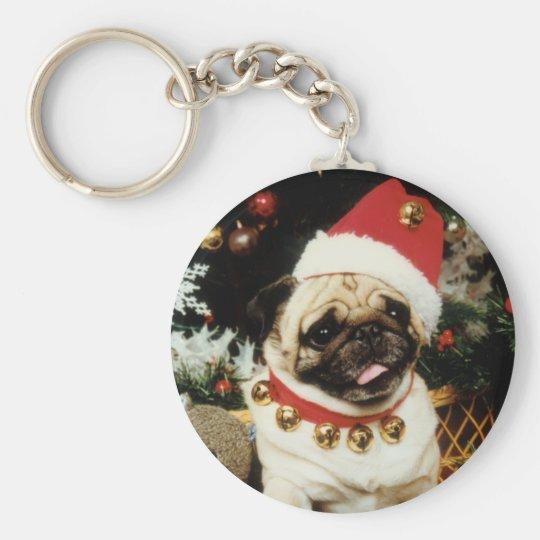 Santa Pug Christmas Keychain