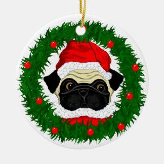 Santa Pug Christmas Ornament