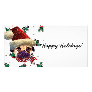 Santa Pug Personalized Photo Card
