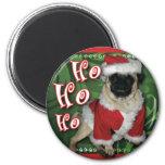 Santa Pug Round Magnet