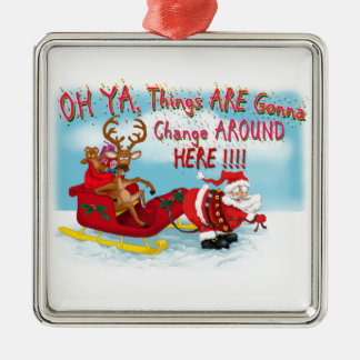 Santa pulling reindeer! Silver-Colored square decoration