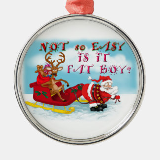 Santa pulling reindeer! Silver-Colored round decoration
