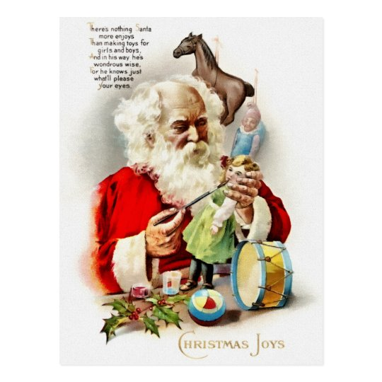 Santa putting the final touches of paint on a doll postcard