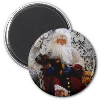 Santa Red 6 Cm Round Magnet
