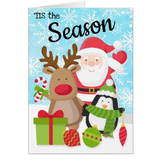 Santa, Reindeer and Penguin Christmas Card