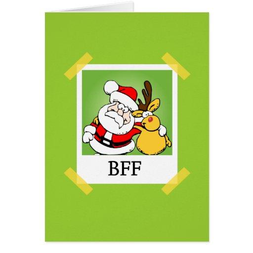 Santa & Reindeer  BFF's Greeting Card