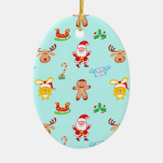 Santa, reindeer, bunny and cookie man Xmas pattern Christmas Ornament