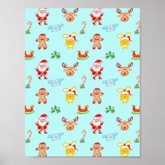 Santa, reindeer, bunny and cookie man Xmas pattern Poster