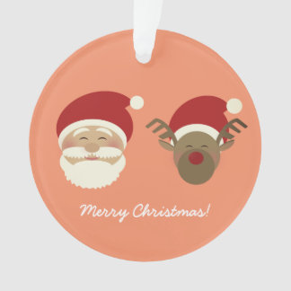 Santa & Reindeer Christmas Cartoon Cute Simple Ornament