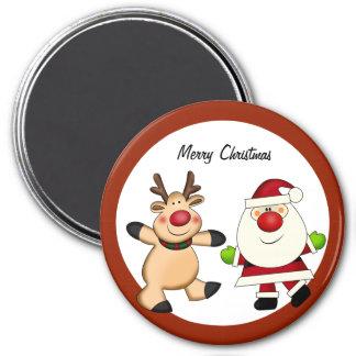 Santa & Reindeer Christmas Holiday Magnet